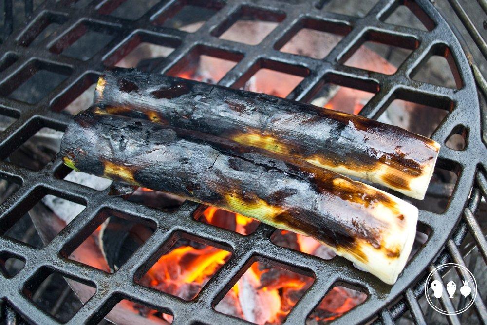 Gegrilde prei van de BBQ bereid door BBQproof