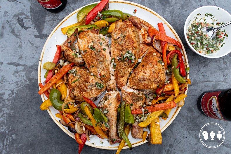 Chimichurri Spatchcock chicken met gegrilde groenten